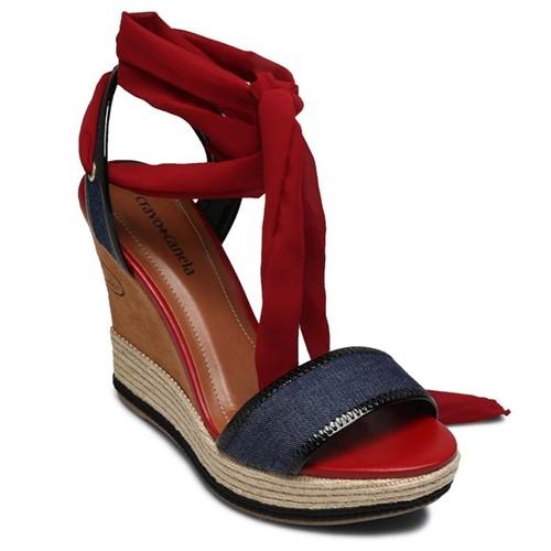 Sandália Anabela Cravo e Canela Jeans Azul/ Vermelha 159101-1