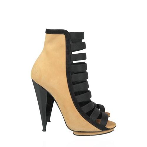Sandalia Ankle Boot Gucci Camurça Caramelo e Preta
