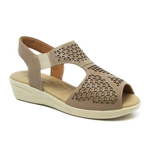 Sandália Feminina Anabela 186 em Couro Ocre Doctor Shoes