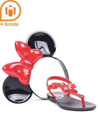 Sandália Minnie Infantil para Menina - Preto/vermelho