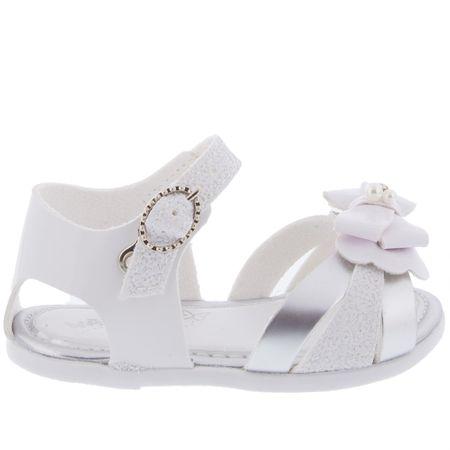 Sandália Pimpolho Tiras em Glitter Laço Branca