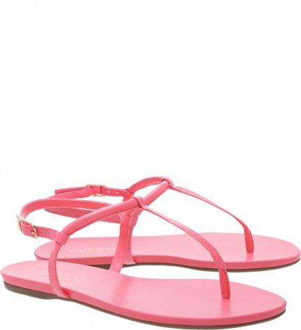 Sandália Rasteira Arezzo Slim Branca - Pink