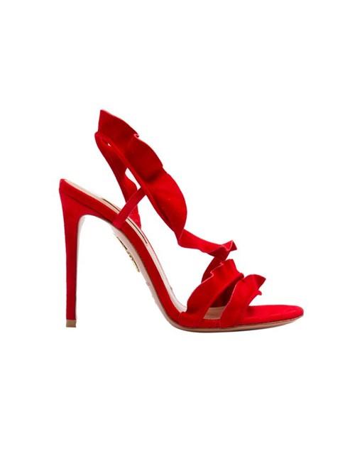 Sandália Salto Alto Babado de Camurça Vermelha Tamanho 34