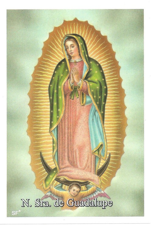 Santinhos de Oração Nossa Senhora de Guadalupe   SJO Artigos Religiosos