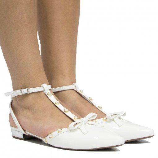 Sapatilha de Noivas Zariff Shoes Verniz Laço 1202285   Betisa