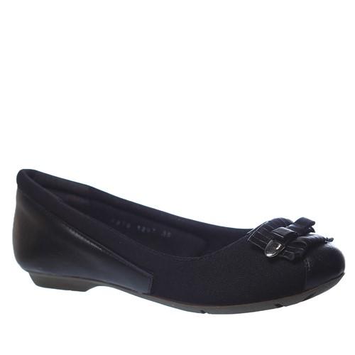 Sapatilha Feminina Joanete em Couro Preto/Techprene Preto 1297 Doctor Shoes