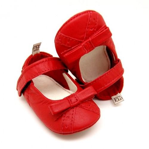 Sapatilha Maria Eduarda | Sapatilha para Bebê em Couro - Vermelho