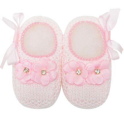 Sapatinho para Bebê em Tricot Flores & Laço Rosa - Roana