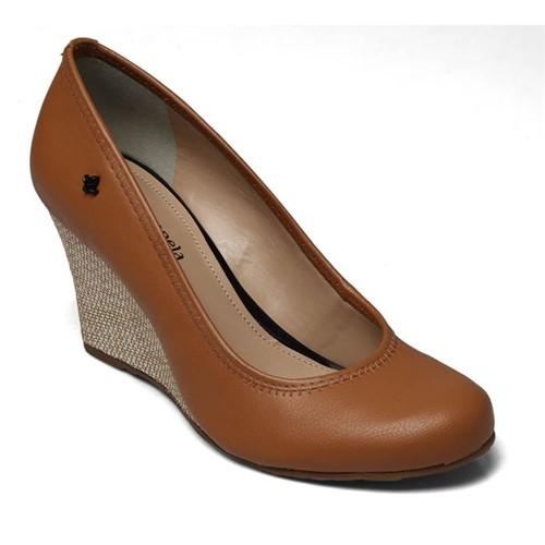 Sapato Anabela Cravo e Canela New Pele Ambar 158001