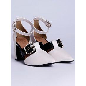 Sapato de Salto Feminino Bebecê Off White/preto 34