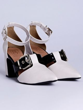 Sapato de Salto Feminino Bebecê Off White/preto