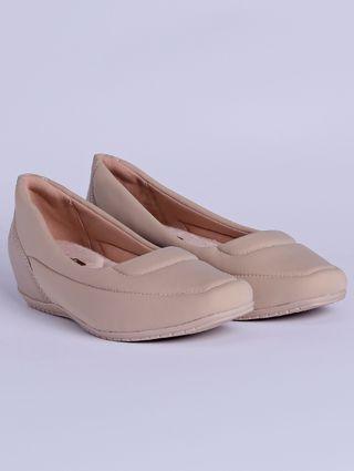 Sapato de Salto Feminino Comfortflex Bege