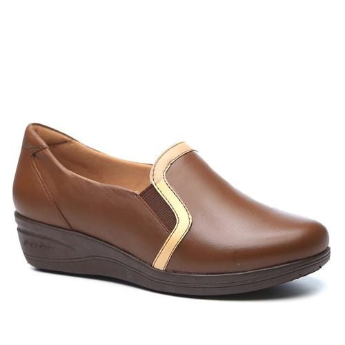 Sapato Feminino Anabela 190 em Couro Capuccino/Porcelana Doctor Shoes