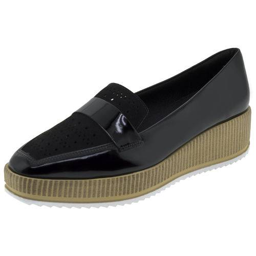 Sapato Feminino Flatform Verniz/preto Piccadilly - 977006