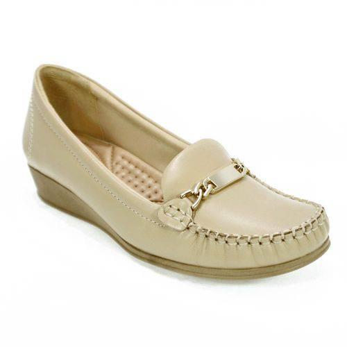 Sapato Feminino Mocassim Metal Bege Comfortflex