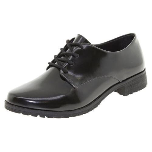 Sapato Feminino Oxford Verniz/Preto Mixage - 2768001