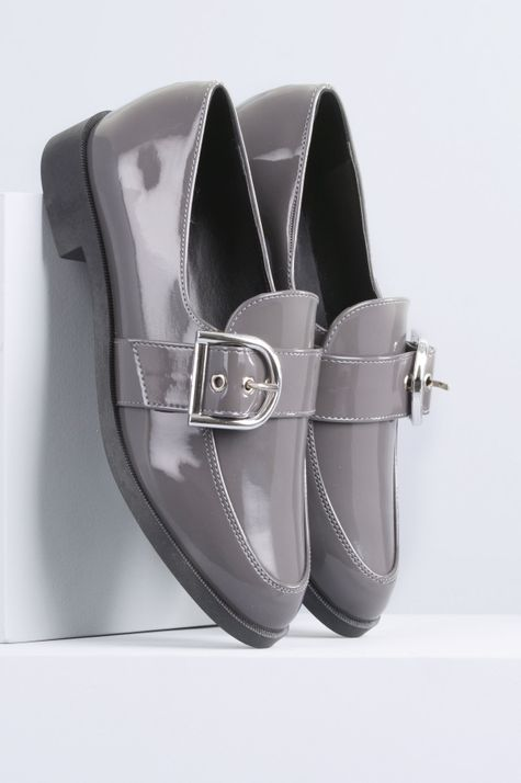 Sapato Feminino Salto Baixo Ayala Mundial VERNIZ - CINZA 35