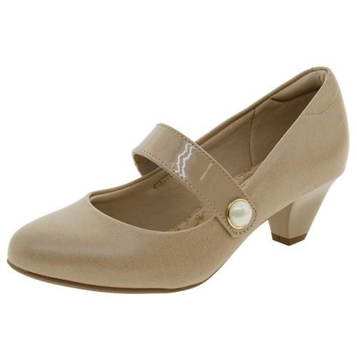 Sapato Feminino Salto Baixo Bege Modare - 7005140