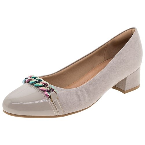 Sapato Feminino Salto Baixo Cinza Piccadilly - 141071
