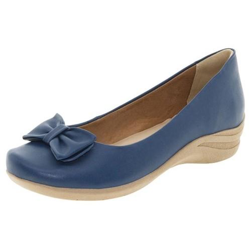 Sapato Feminino Salto Baixo Marinho ComfortFlex - 1550352