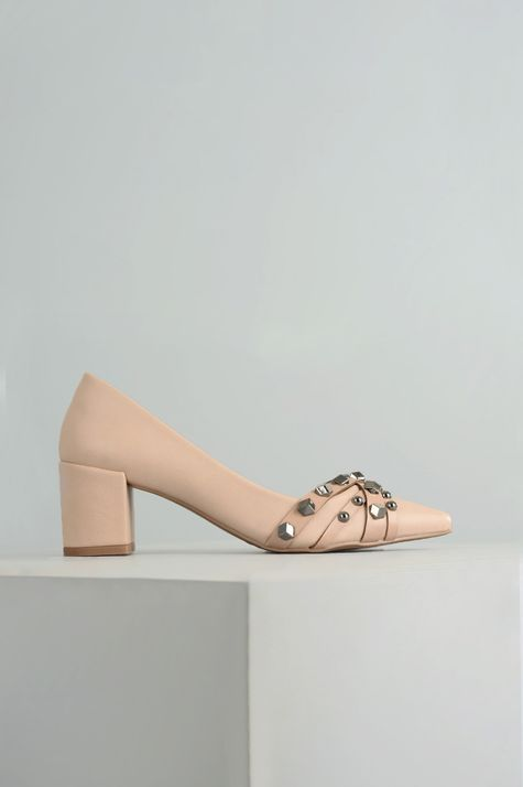 Sapato Feminino Salto Médio Merlot Mundial SINT - BEGE 36