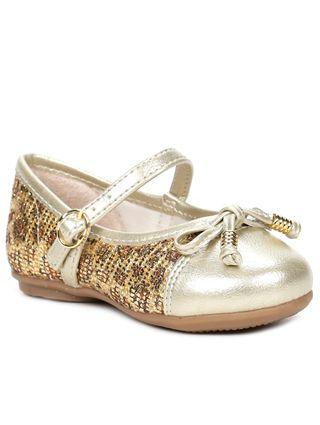 Sapato Infantil para Bebê Menina Dourado