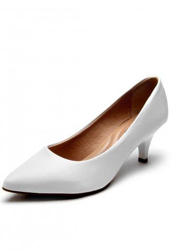 Sapato Scarpin Feminino Beira Rio Salto Baixo 4076150 Branco 4076150