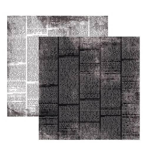 Scrap Basico Vintage Preto Jornal KFSB181 Toke e Crie