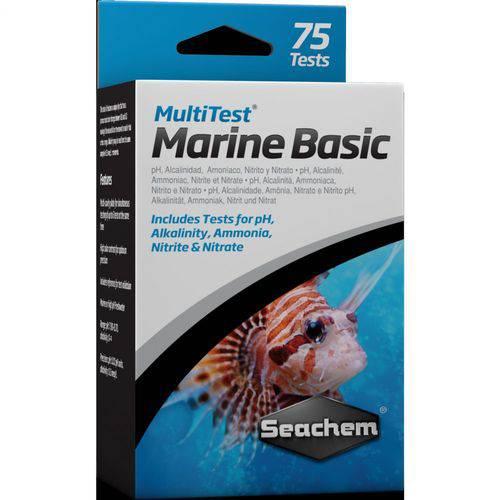 Seachem Multi Test Marine Basic ( Teste Ph Alcalinidade Amonia Nitrito Nitrato ) - Faz 75 Testes