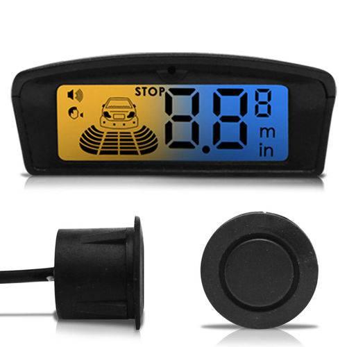 Sensor de Estacionamento 4 Pontos Preto com Cápsula Emborrachada Display LCD Visor Flex Âmbar Azul