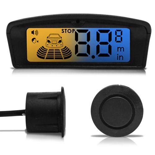 Sensor de Estacionamento 4 Pontos Preto com Cápsula Emborrachada Display LCD Visor Flex Ambar Azul