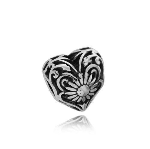 Separador Prata 925 Coração com Flor