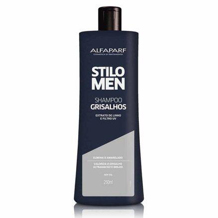 Shampoo Alfaparf Stilo Men Grisalhos Extrato de Linho e Filtro Uv Elimina o Amarelado 250ml