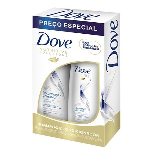 Shampoo + Condicionador Dove Reconstrução Completa para Cabelos Danificados 400ml+200ml Preço Especial