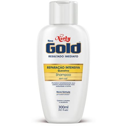 Shampoo Niely Gold Queratina Reparação Sem Sal 300ml