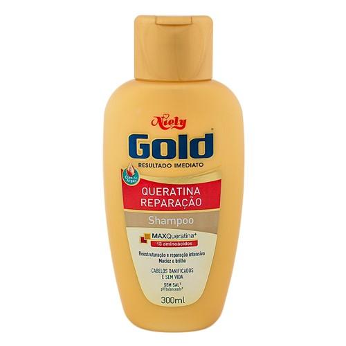 Shampoo Niely Gold Queratina Reparação Sem Sal com 300ml