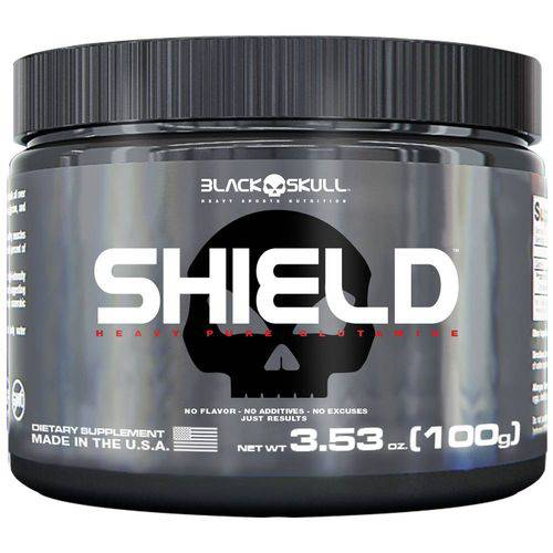 Shield Pure Glutamine 100g - Black Skull + Luva Caleira