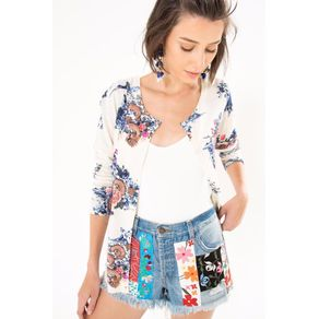 Short Aplicacoes Bordado Jeans - 36