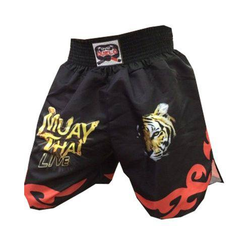 Short Calcao Muay Thai- Live - Preto/Vermelho - Duelo Fight - Duelo Fight
