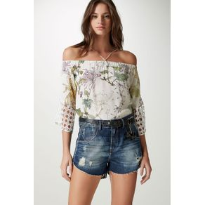 Short Cinto Flor Azul Denim - 38