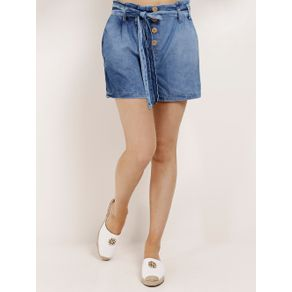 Short Clochard Jeans Feminino Azul 40