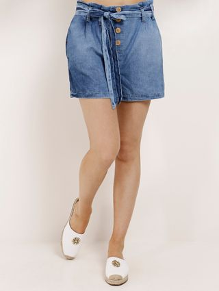 Short Clochard Jeans Feminino Azul