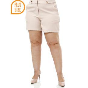 Short de Tecido Plus Size Feminino Bege 44