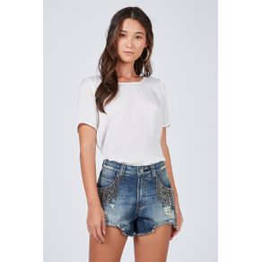 Short Denim Bordado Azul Denim Escuro - 38