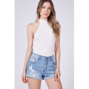 Short Denim Destroyed Azul Denim Claro - 34