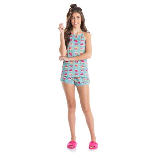 Short Doll Melancia Azul Turqueza/G