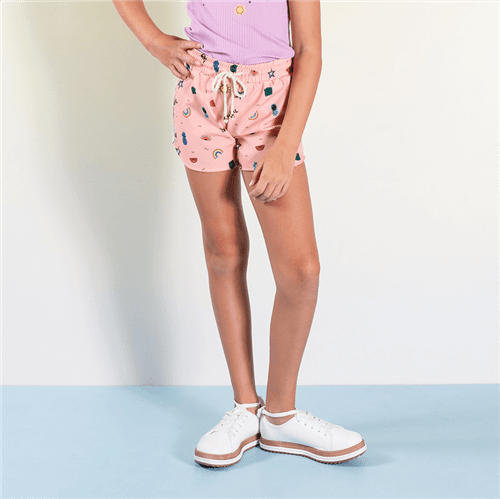 Short Geo Colore Rosa Chiclete/12 e 14