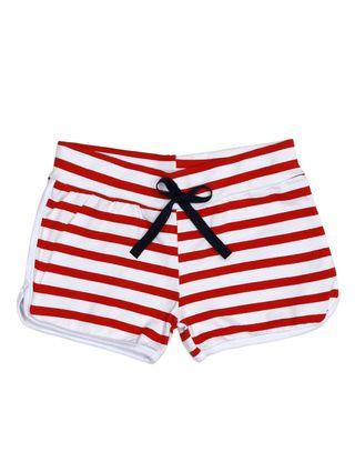 Short Infantil para Menina - Branco/vermelho