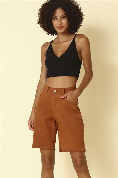 Short Jeans Barra Desfiada - Marrom Tamanho: 36