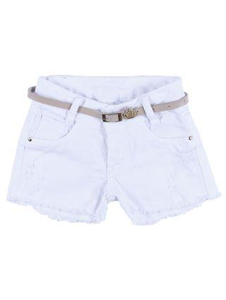 Short Sarja Infantil para Menina - Branco